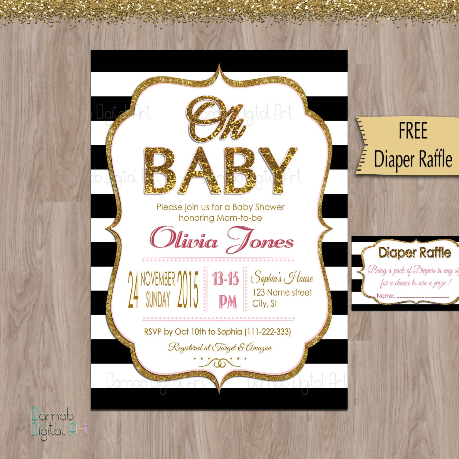 black and gold baby shower invitation black and white baby