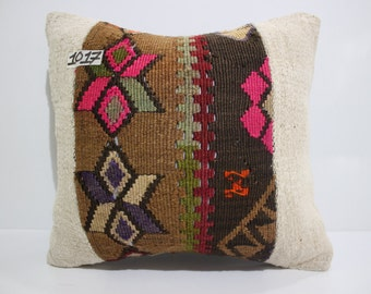 kilim patchwork pillow cover 16x16 turkish kilim cushion cover vintage kilim pillow cover throw pillow flat woven cushion cover SP4040-1017