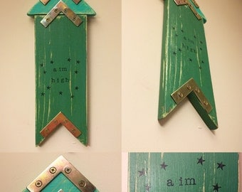 SALE Space Themed Decor, Wooden Rocket, Aim High, Gifts for Boys, Boys Bedroom Decor, Space Rocket, Reclaimed Wood, Stars, Wooden Arrow