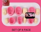 Doll  mould baby doll face mould silicone mould head Set of 6 3D free shipping sugarcraft pastillage  fondant sugarpaste fimo modelling work