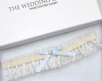 Wedding Garter, Bridal Garter, Keepsake Garter, Ivory Wedding Garter, Lace Wedding Garter, Something Blue, Blue Garter, Toss Garter, Garter