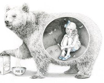 Goldilocks and the Bear, Bear Art, Bear Print, A4 Print, Giclée Print, Art Print, Wall Art