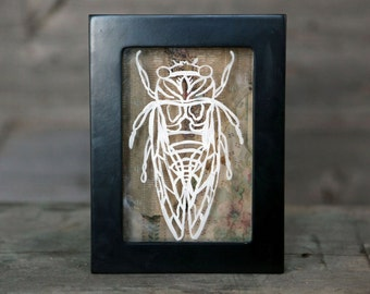 Hand Painted Cicada Line Art Shadowbox with Antique Wallpaper