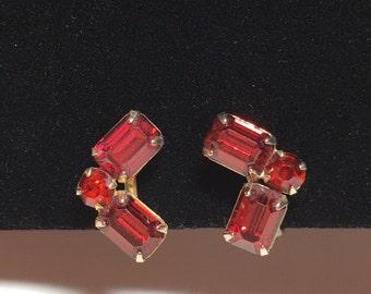 Vintage Red Rhinestone Screwback Earrings
