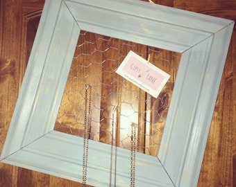 Teal Wood Chickenwire Frame