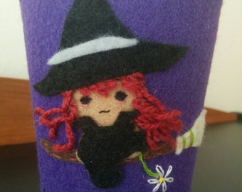 Custom Coffee Sleeve, Witch Coffee Cozy, Tea Sleeve Cozy, Beverage Sleeve, Reusable
