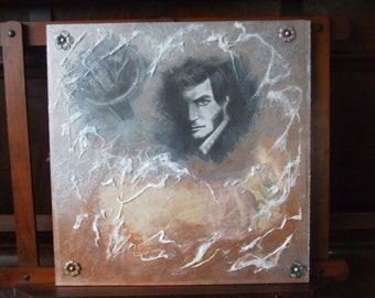 Quentin Collins from Dark Shadows original mixed media portrait. Drawing and acrylics on wooden panel.