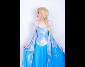 Elsa costume cosplay, adult dress, Frozen, Disney princess, Queen of Arendelle, blue dress, fancy dress, Halloween costume