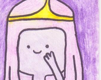 Princess Bubblegum watercolour atc