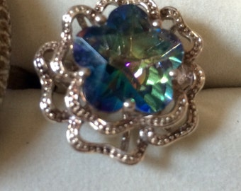 Sterling Silver Blue Flower Stone Ring Size 6.5