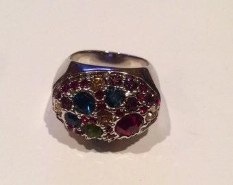 Multistone Dark Tone Colored Ring Size 7.5 Very Nice