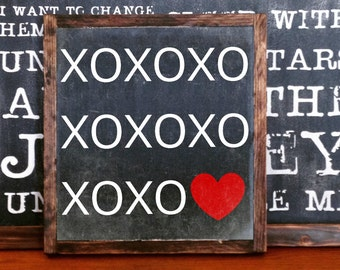 XO XO XO Heart Valentine Love Rustic Wood Sign Hand painted,Mantel Decor February Decor, Heart Sign, Valentine Giftvalentine
