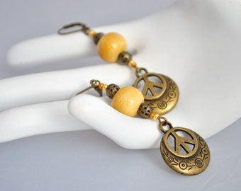 Vintage ceramic peace earrings
