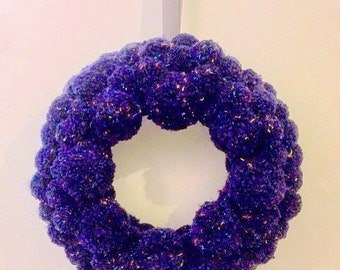 Large pompom wreath, blue wall art, pompom photo shoot prop, window display prop, pompom wall art, navy blue decor, blue art, navy accessory