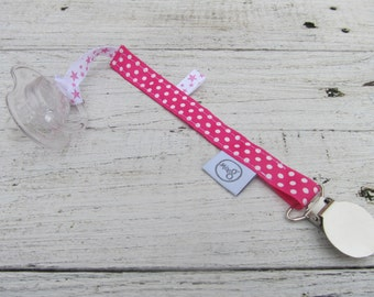 Pink pacifier cord with dots