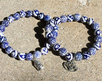 Oriental Inspired Beaded Bracelet, Buddha or Open Lotus, Blue