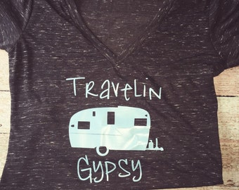 Travelin Gypsy Camper Vneck shirt