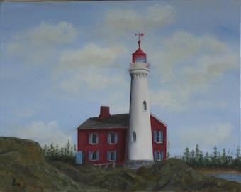 "Fisgard Lighthouse, Victoria, BC. Original 14""x11"" Acrylic Painting"