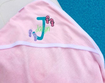 Embroidered boy & girl Burts Bees baby beach/bath towel