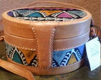 Funky Vintage Island Imports Multi-Color Batik Leather Canteen Purse