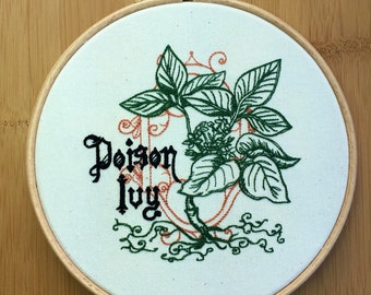 Poison ivy embroidered art botanic botanical illustration drawing gothic tattoo style embroidery hoop art natural cotton drill batman