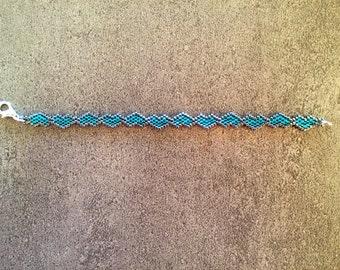 Brick stitch teal hearts bracelet