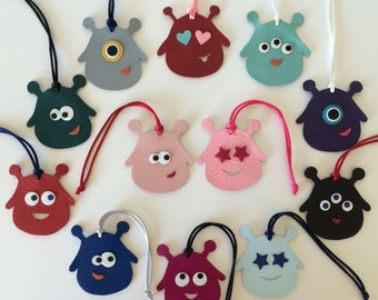 Leather Droplet Monster Bagcharms on Silk Cord