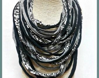 Black & white t-shirt yarn necklace-scarf necklace-textile jewelry-upcycled necklace-eco friendly jewelry-feminine-multi cords-boho chic