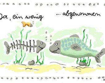 Painting Digital, Illustration Fish, Digital Art, Gift Art print, scene with fish, fishbone, artistic posters, drawing-gift, funny Poster