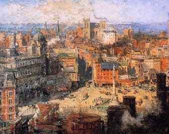 columbus circle new york, painting of new york city as seen in 1909, colin campbel print
