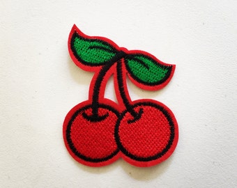 Cherries Iron-On Patch, Fruit Patch, Vintage Effect Patch, DIY Embroidery, Embroidered Applique, DIY Embroidery, Rockabilly Gift