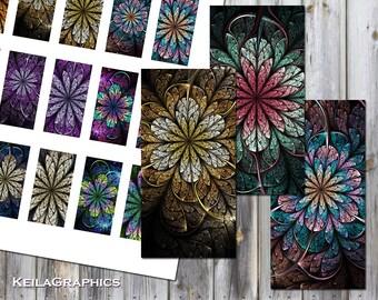 "Digital Collage Sheet - Instant Download - Rectangle Domino Tile Size 1x2"" + 0.75x1.5"" - Printable Images - Fractal Flowers"