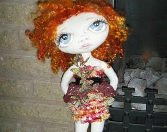 Handmade cloth doll ooak butterfly fairy Veronica