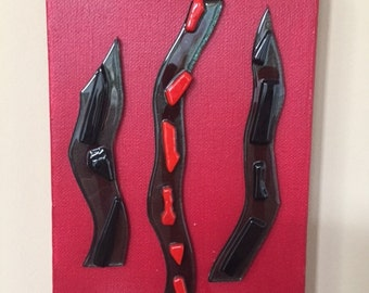 abstract fused glass art piece