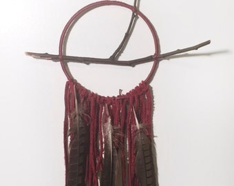 Burgundy Leather Dream Catcher