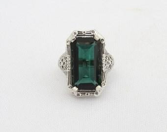 Vintage Sterling Silver Emerald Filigree Ring Size 7