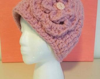 Pink crochet flower beanie hat