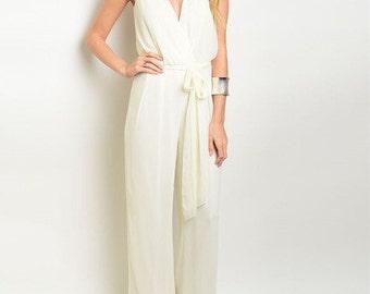 On Sale, Women's high fashion Jumpsuit, v neck clothing, sleeveless jumpsuit