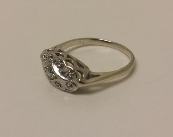 Vintage 14K White Gold Ring With Diamonds