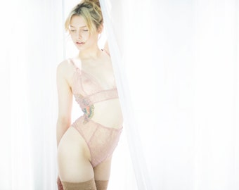 The 'Lois' briefs - handmade luxury lingerie made from dusty pink lace with gold/bronze detail