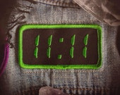 """11:11 Synchronicity Patch - Metaphysical Fashion Accessory - 3"""" Iron On Embroidered Patch - Digital Clock Green - Awakening Code Numerology"""