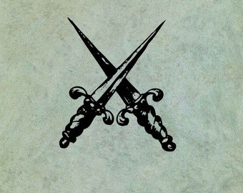 Crossed Daggers - Antique Style Clear Stamp