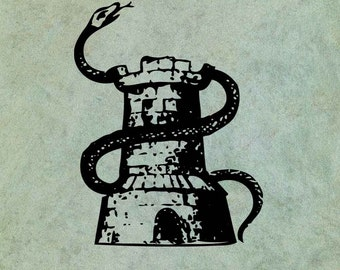 Castle Entwined by Hissing Snake - Antique Style Clear Stamp