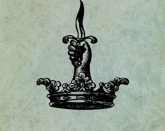 Hand Holding Dagger in Crown- Antique Style Clear Stamp