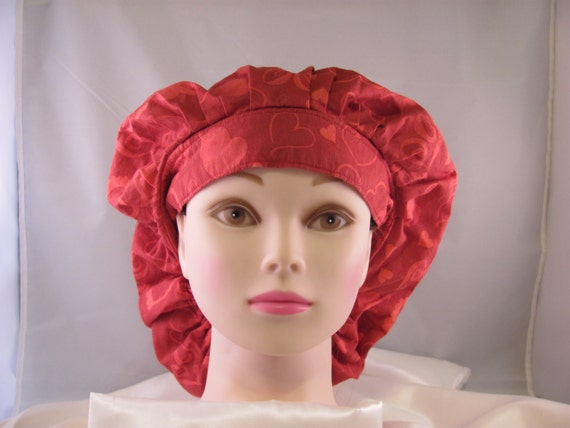 Woman's Bouffant Scrub Hat Red Hearts