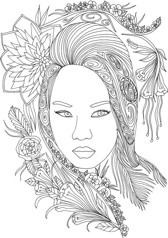 adult coloring book printable coloring pages coloring pages coloring book for adults adult coloring instant download faces of the world - Coloring Book Printable