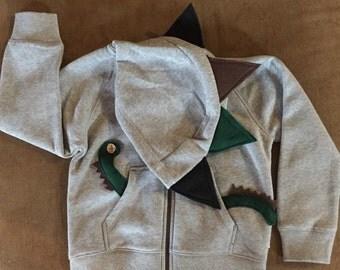 Gray Spike Dinosaur hoodie