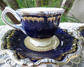 Cobalt Blue Cups and Saucers -  George Jones and Sons Demi Tasse Tea Cup and Saucer Set
