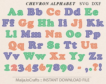 Chevron font SVG file DXF, Digital font Chevron Alphabet Silhouette Cameo Cricut font Cricut designs Cricut files downloads Monogram Font