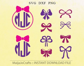 Bow silhouettes Monogram SVG PNG Clipart DXF cut files instant download silhouette cameo cricut designs cut file Bow Cricut downloads